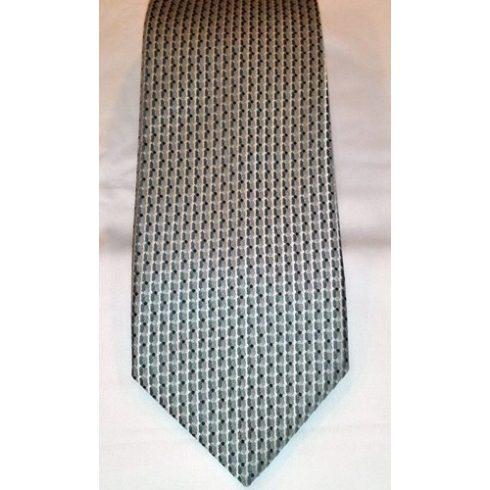 Világosszürke alapon szürke és fehér mintás poliészter nyakkendő