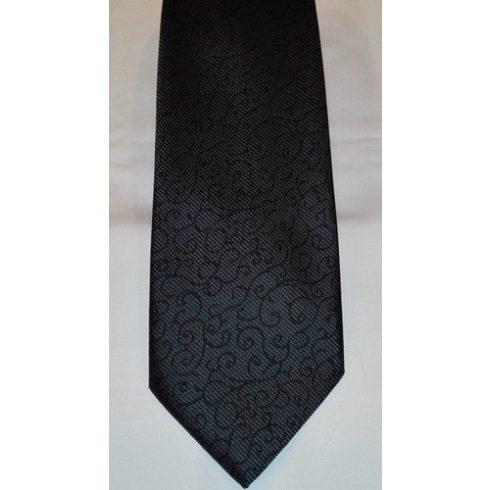Sötétszürke alapon fekete mintás poliészter nyakkendő