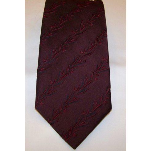 Sötétbordó, anyagában mintás poliészter nyakkendő