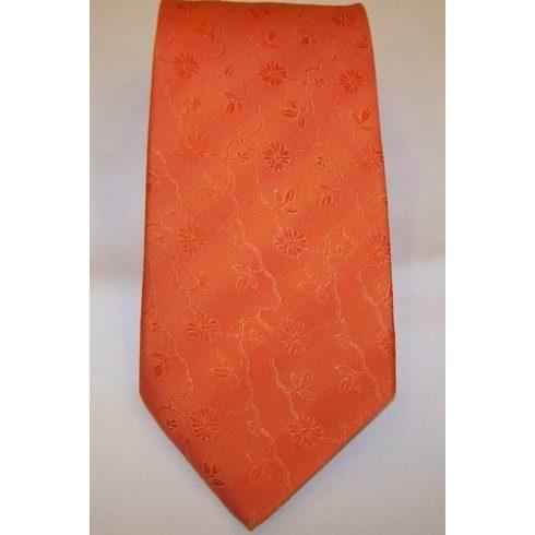 Narancssárga, anyagában mintás poliészter nyakkendő