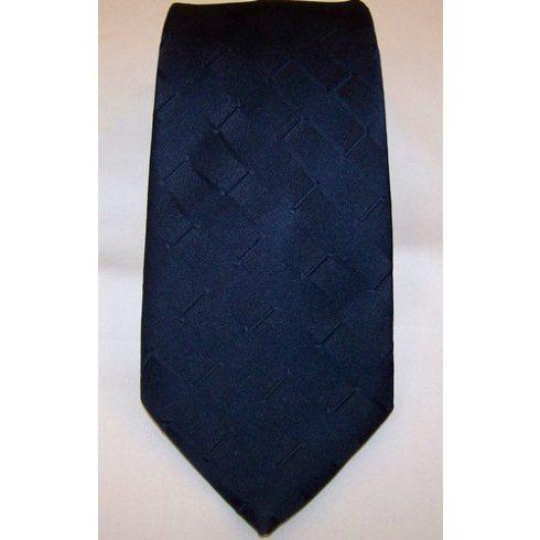Sötétkék, anyagában mintás poliészter nyakkendő