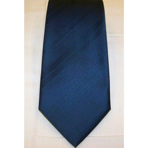 Olajkék, anyagában csíkos poliészter nyakkendő